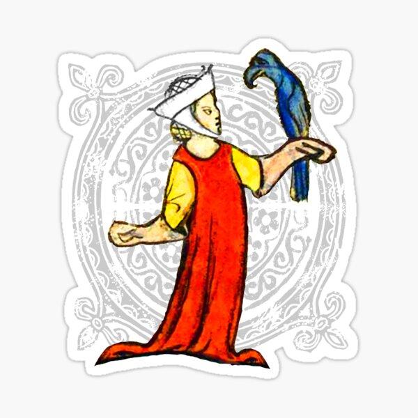 medieval marginalia, Lady with hawk Sticker