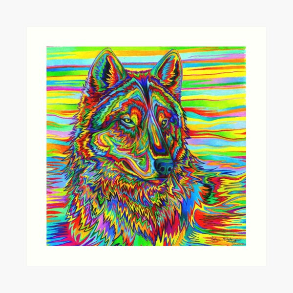Colorful Psychedelic Rainbow Wolf Art Print