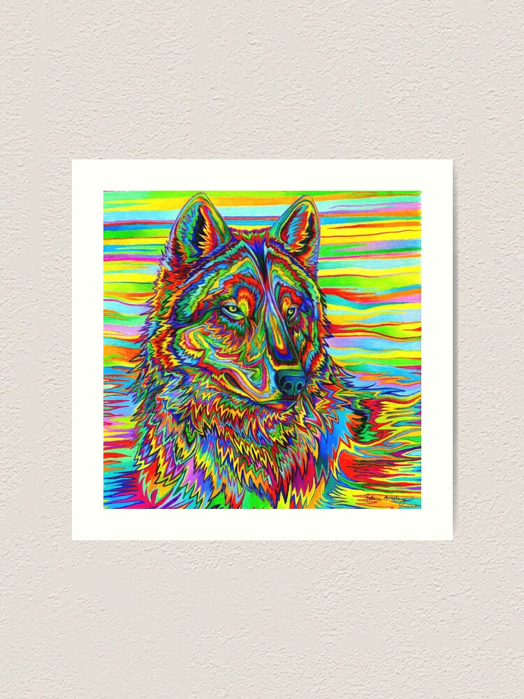 Alternate view of Colorful Psychedelic Rainbow Wolf Art Print