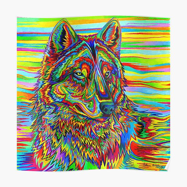 Colorful Psychedelic Rainbow Wolf Poster