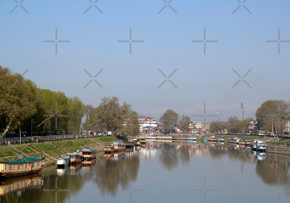 Houseboats on the shore of a canal in Srinagar by ashishagarwal74