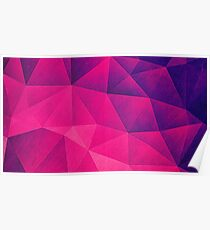 Abstract Polygon Multi Color Cubizm Painting in deep pink/purple  Poster