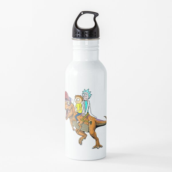 Rick and Morty Riding A dinosaur Water Bottle