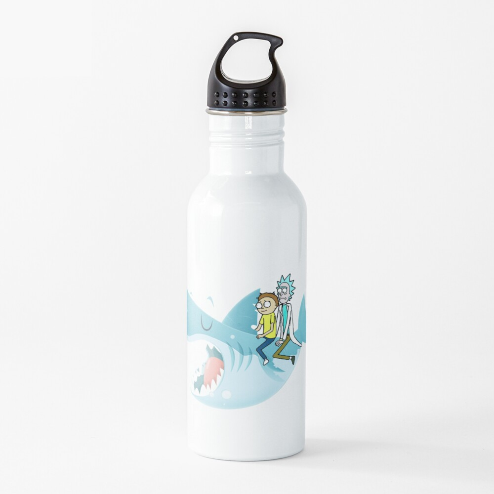 Rick and Morty Riding A shark Water Bottle
