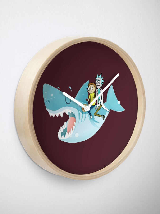 Alternate view of Rick and Morty Riding A shark Clock
