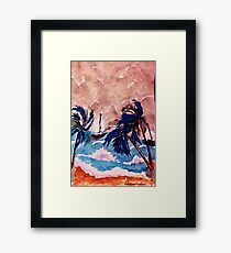 Trying to dock before the storm, recised, watercolor Framed Print