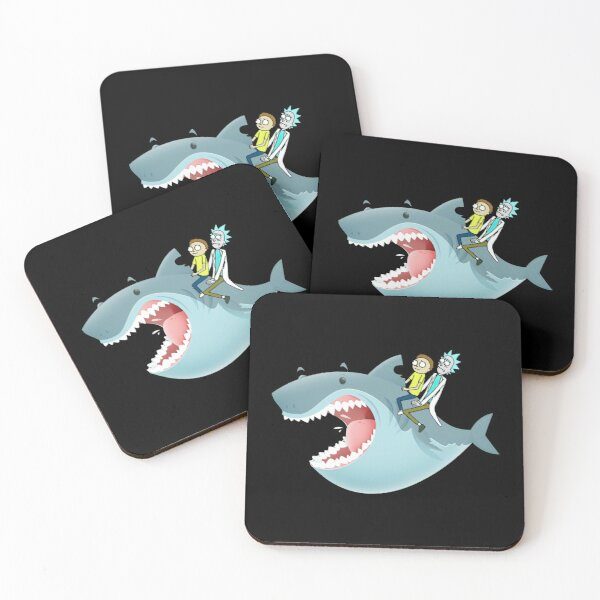 Rick and Morty Riding A shark Coasters (Set of 4)