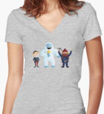 Yukon, Hermey and the Bumble in Teal Women's Fitted V-Neck T-Shirt