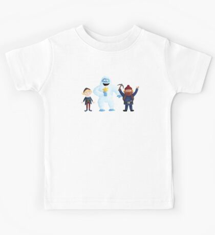 Yukon, Hermey and the Bumble in Teal Kids Clothes