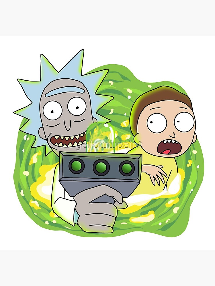 Rick and Morty with Portal Gun by yellowwpaint