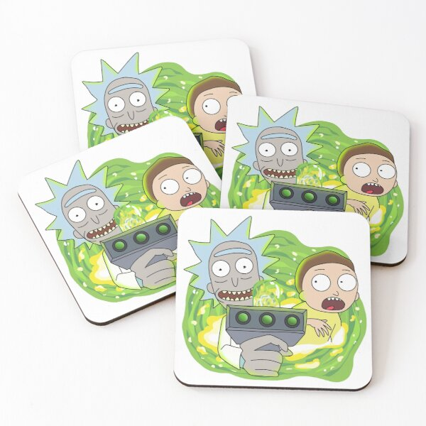 Rick and Morty with Portal Gun Coasters (Set of 4)