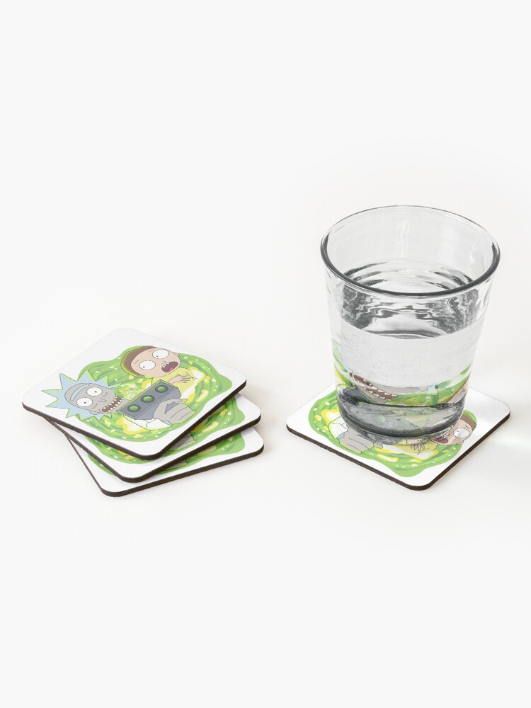 Alternate view of Rick and Morty with Portal Gun Coasters (Set of 4)