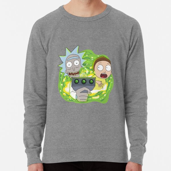 Rick and Morty with Portal Gun Lightweight Sweatshirt