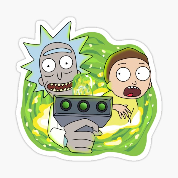 Rick and Morty with Portal Gun Sticker
