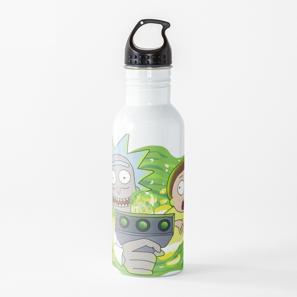 Rick and Morty with Portal Gun Water Bottle