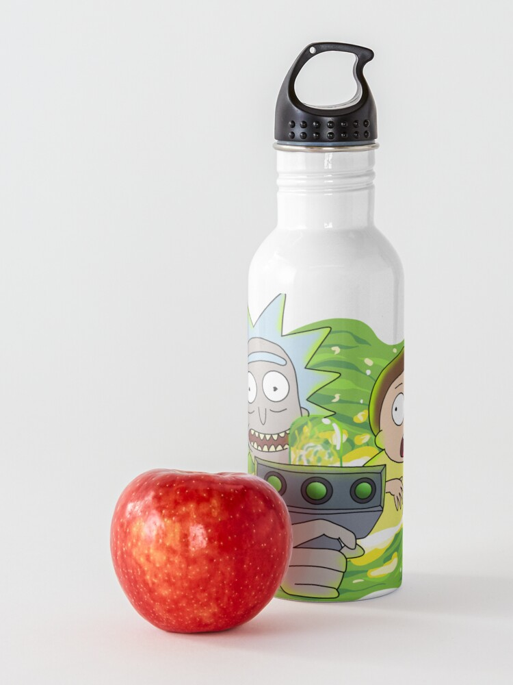 Alternate view of Rick and Morty with Portal Gun Water Bottle