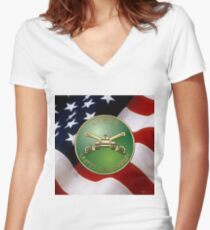 U.S. Army Armor - Branch Insignia over U. S. Flag Women's Fitted V-Neck T-Shirt