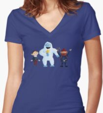 Yukon Bumble and Hermey Women's Fitted V-Neck T-Shirt