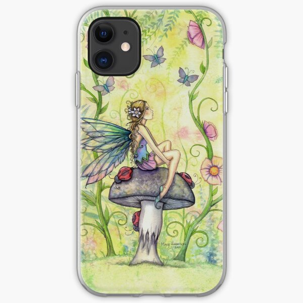 A Happy Place Flower Fairy and Ladybugs iPhone Soft Case