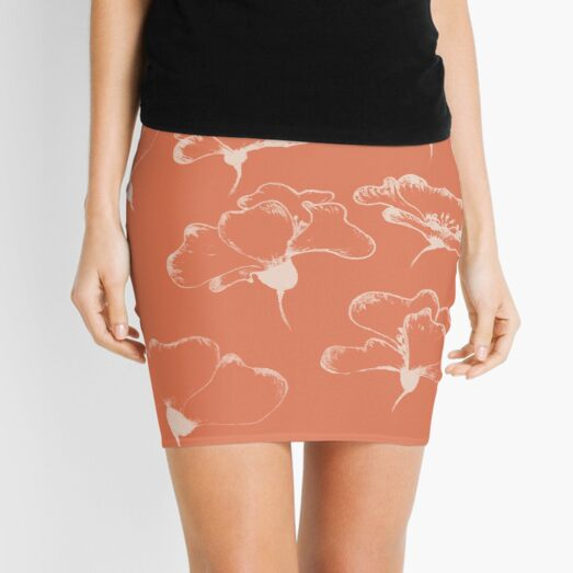 White poppies III Mini Skirt