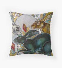 Three Moon Gazing Hares Throw Pillow