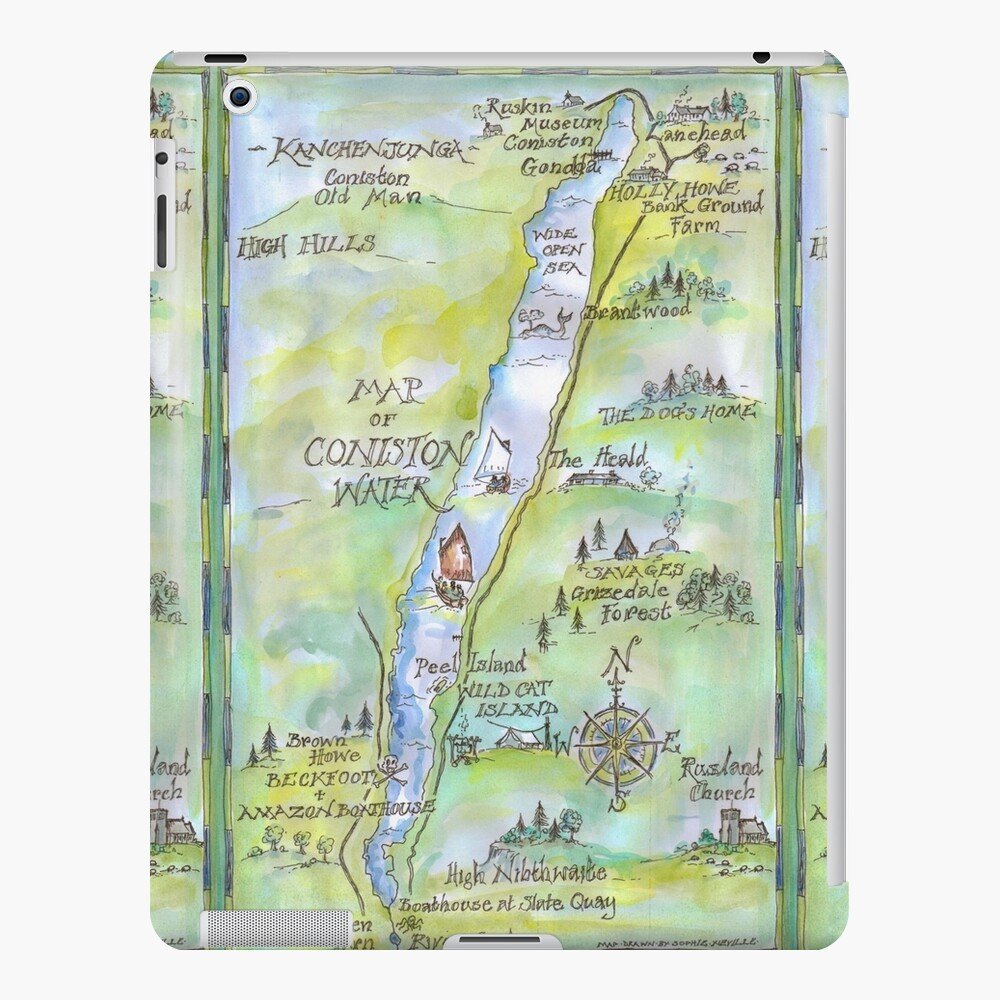 Swallows and Amazons map of Coniston Water -  iPad Case & Skin