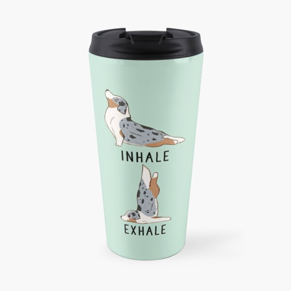 Inhale Exhale Australian Shepherd Yoga Travel Mug