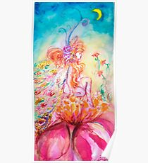 ALTHEA /Whimsical Fairy on the Pink Flower Poster