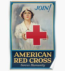 American Red Cross serves humanity Join! Poster