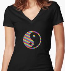 rainbow yin yang Women's Fitted V-Neck T-Shirt