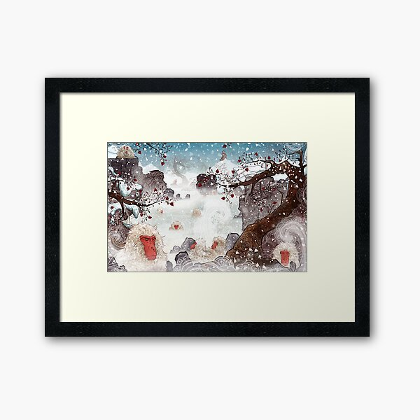 Soaking Japanese Snow Monkeys Framed Art Print