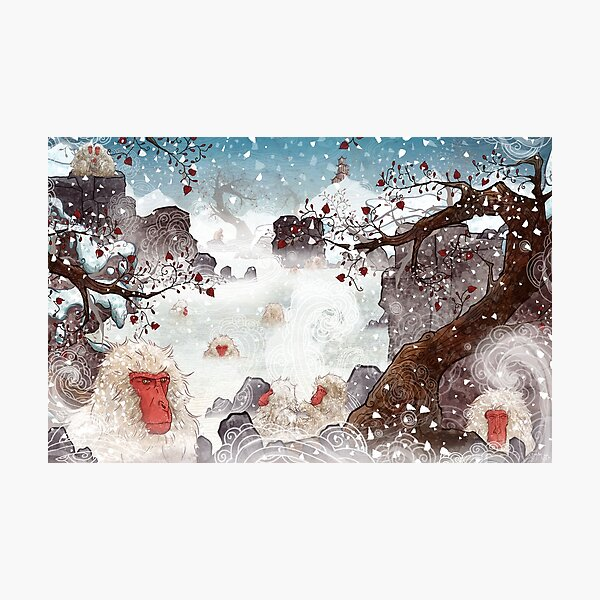 Soaking Japanese Snow Monkeys Photographic Print
