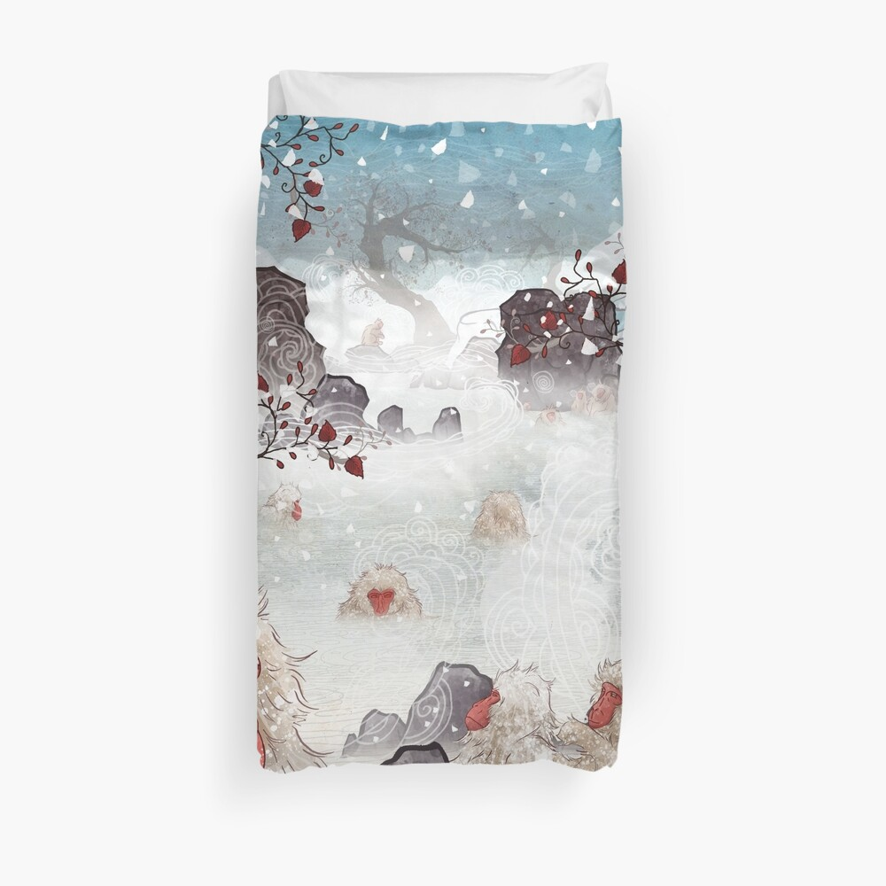 Soaking Japanese Snow Monkeys Duvet Cover