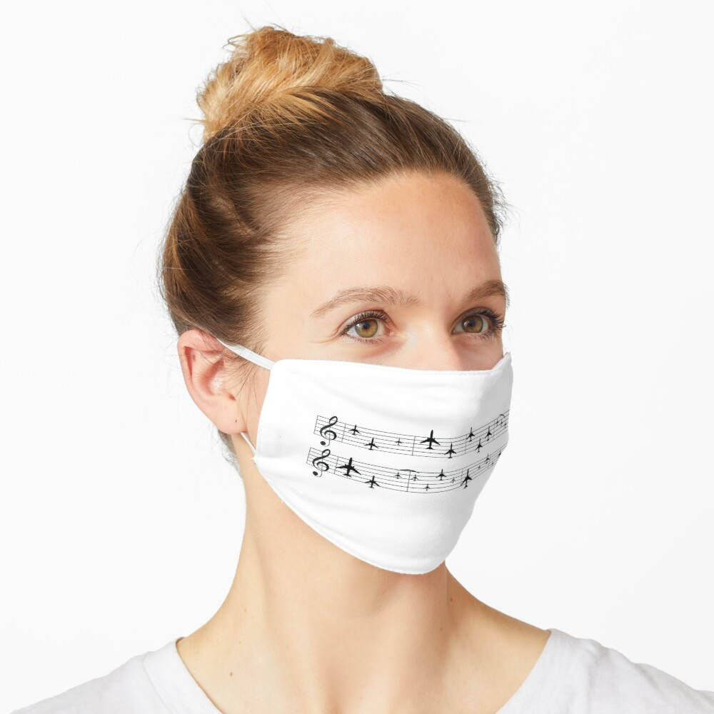 Music staff with airplanes Mask
