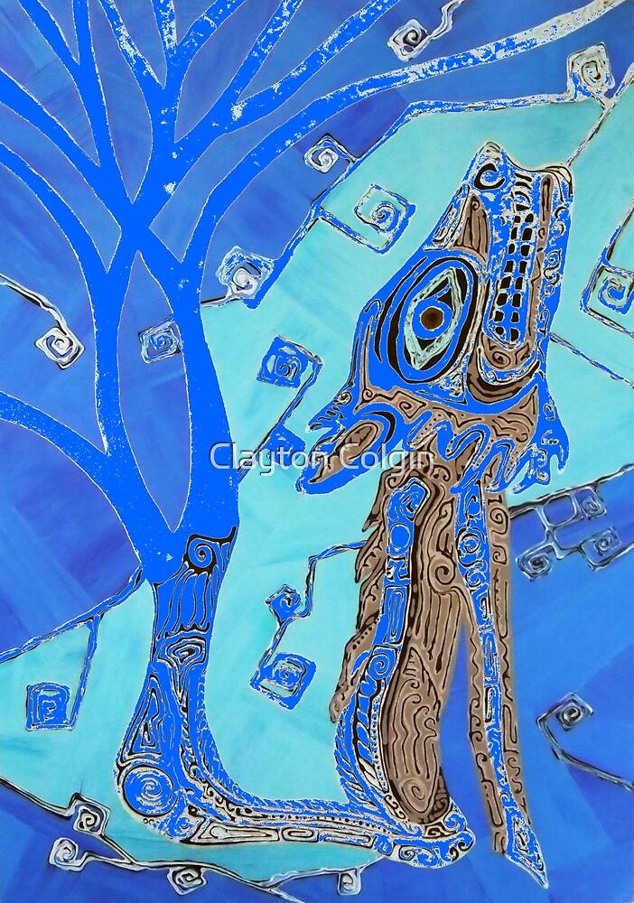 Coyote in Dark Blue by Clayton Colgin