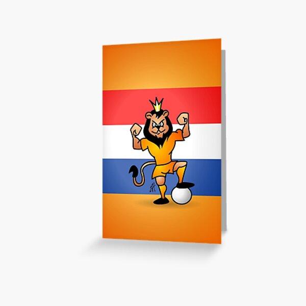 Orange lion soccer hero Greeting Card