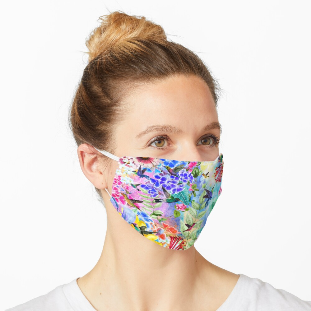 Humming Birds and Flowers Mask