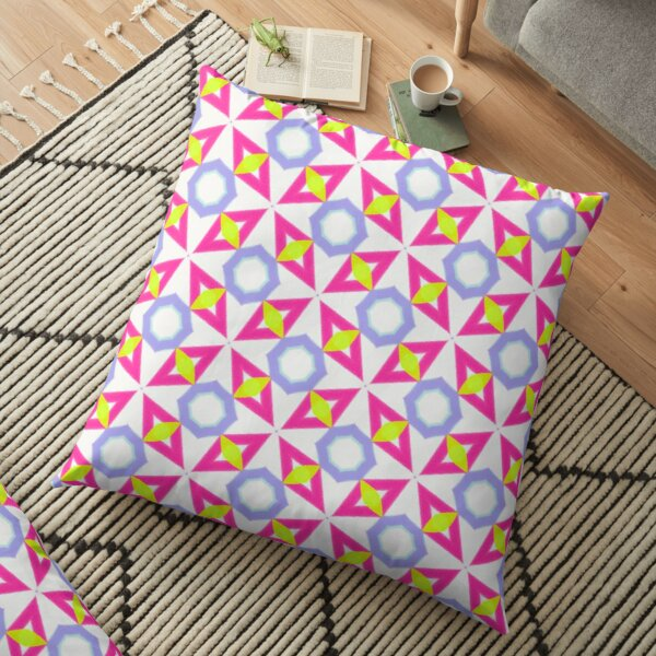 Pink, yellow and blue geometric pattern  Floor Pillow