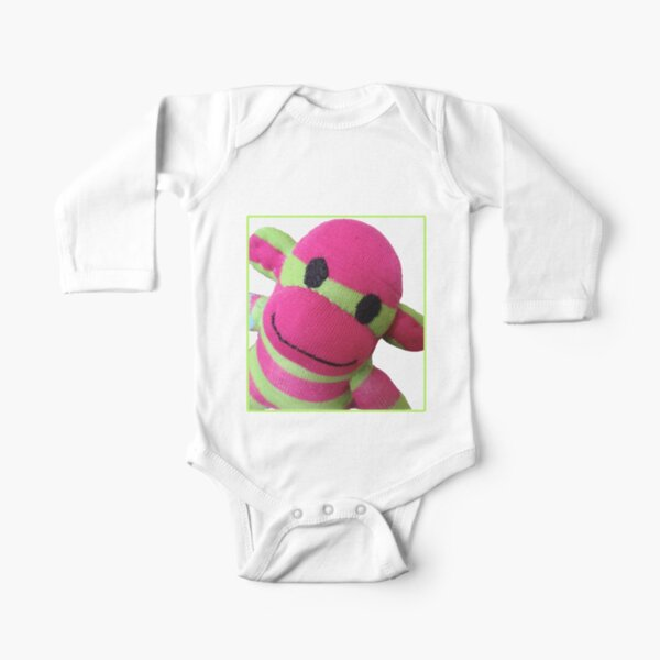 Sock Monkey Cute Long Sleeve Baby One-Piece