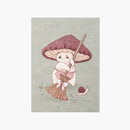 Angy mushroom does not like to clean  Art Board Print