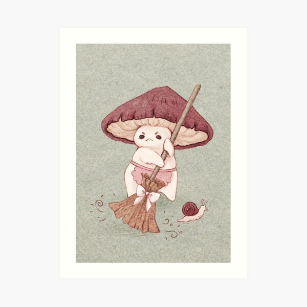 Angy mushroom does not like to clean  Art Print