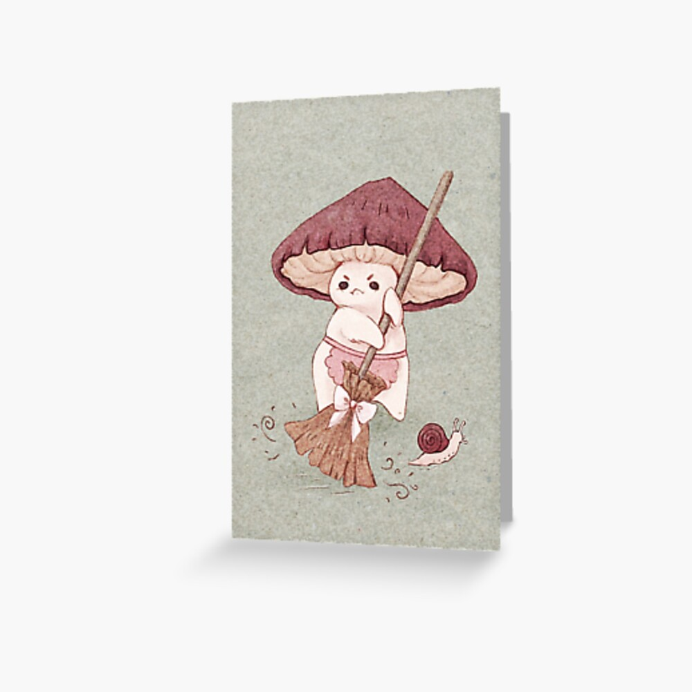 Angy mushroom does not like to clean  Greeting Card