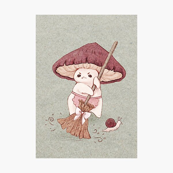Angy mushroom does not like to clean  Photographic Print