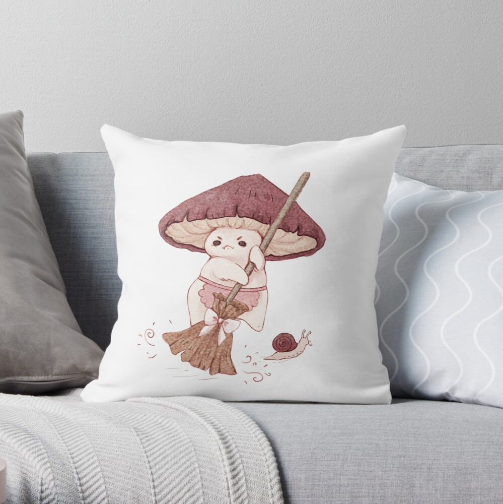 Angy mushroom does not like to clean  Throw Pillow