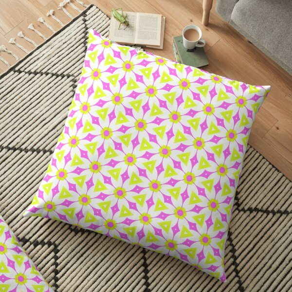 Pink and chartreuse yellow geometric pattern Floor Pillow