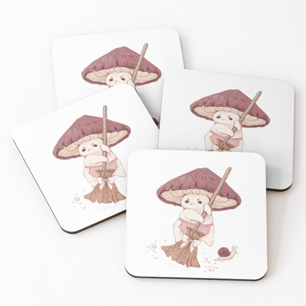 Angy mushroom does not like to clean  Coasters (Set of 4)