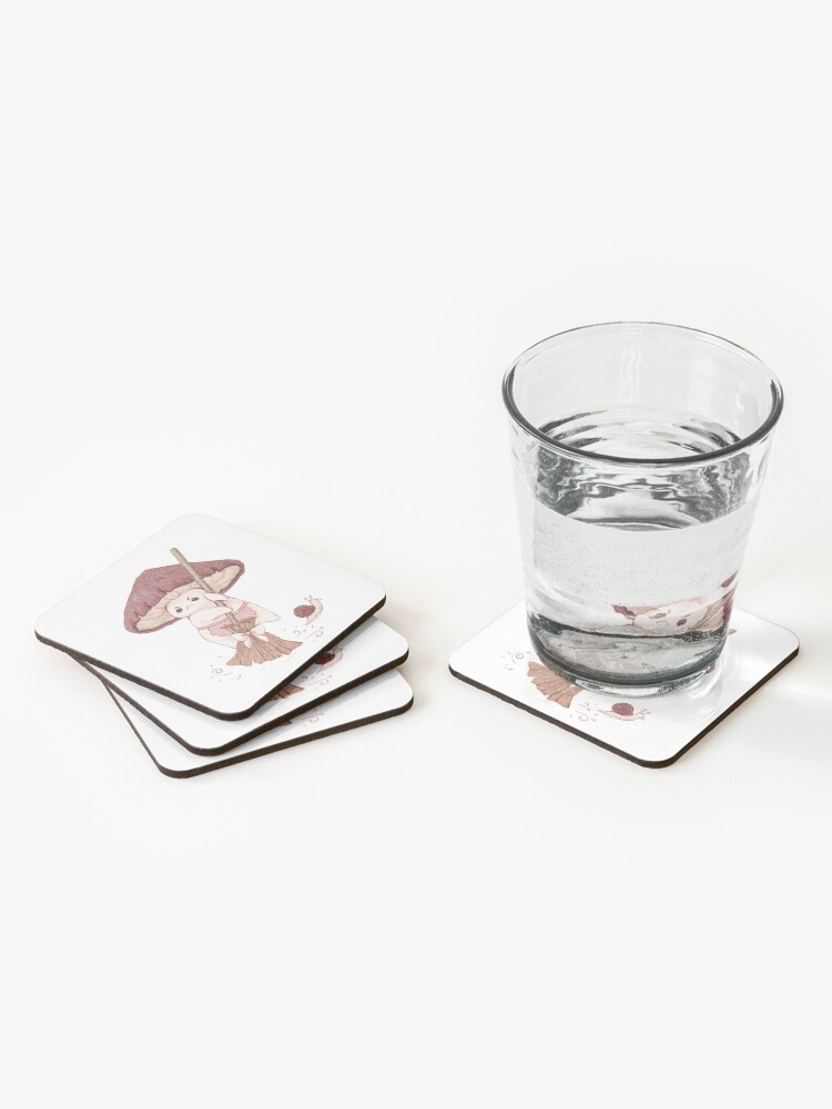 Alternate view of Angy mushroom does not like to clean  Coasters (Set of 4)