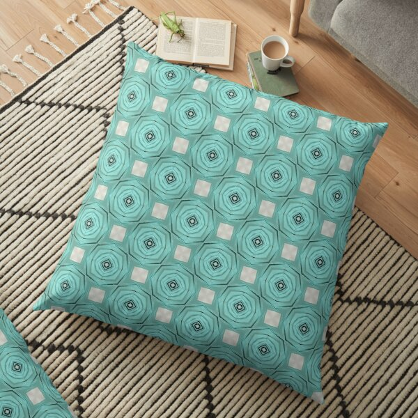 Midcentury style turquoise roses Floor Pillow