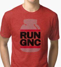 RUN GNC on White Tri-blend T-Shirt