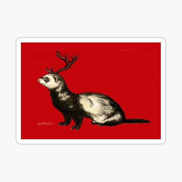 Holiday Antler Ferret Sticker